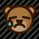 avatar, bear, emoji, face, profile, tear, teddy icon
