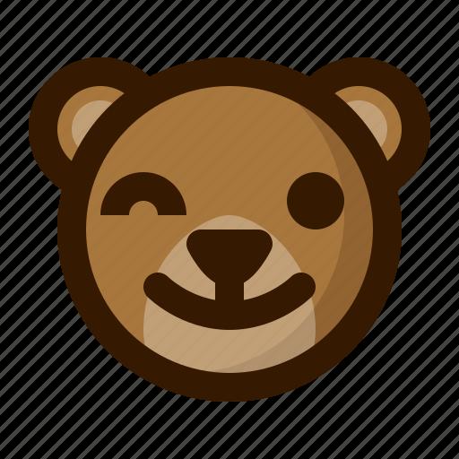 avatar, bear, emoji, face, profile, teddy, wink icon