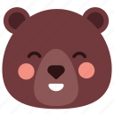 bear, emoticon, emotion, expression, face, happy, smiley icon