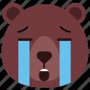 bear, cry, emoji, emoticon, sad, tears icon