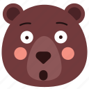 bear, emoji, emoticon, surprise, surprised icon