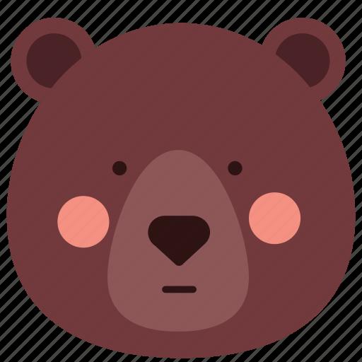 bear, emoji, emoticon, neutral, reactionless icon