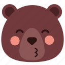 bear, emoji, emoticon, heart, kiss