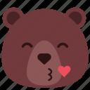bear, emoji, emoticon, heart, kiss, romantic icon