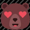 bear, emoji, emoticon, love, romantic, valentine icon