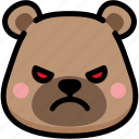 angry, bear, emoji, emotion, expression, face, feeling icon
