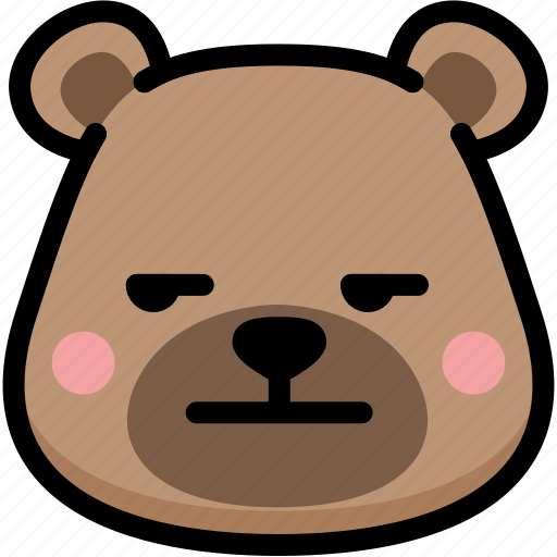 annoying, bear, emoji, emotion, expression, face, feeling icon