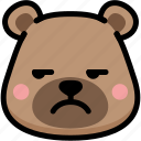 annoying, bear, emoji, emotion, expression, face, feeling icon
