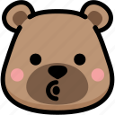 bear, blowing, emoji, emotion, expression, face, feeling icon