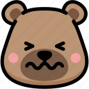 bear, confounded, emoji, emotion, expression, face, feeling icon