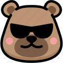 bear, cool, emoji, emotion, expression, face, feeling icon