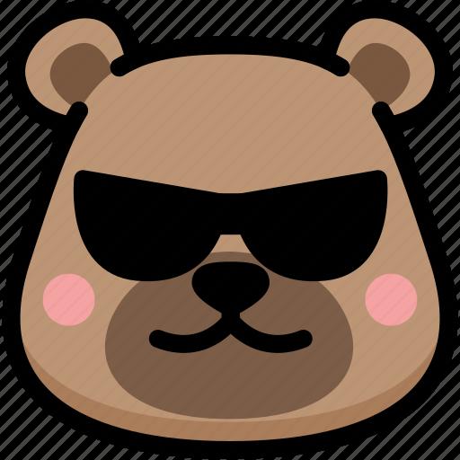 bear, cool, emoji, emotion, expression, face, feeling icon