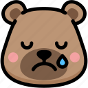 bear, cry, emoji, emotion, expression, face, feeling icon