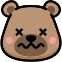 bear, dead, emoji, emotion, expression, face, feeling icon