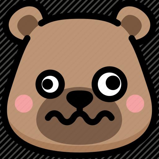 bear, dizzy, emoji, emotion, expression, face, feeling icon