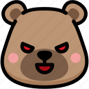 bear, emoji, emotion, evil, expression, face, feeling icon