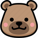 bear, emoji, emotion, expression, face, feeling, grinning icon