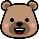 bear, emoji, emotion, expression, face, feeling, happy icon
