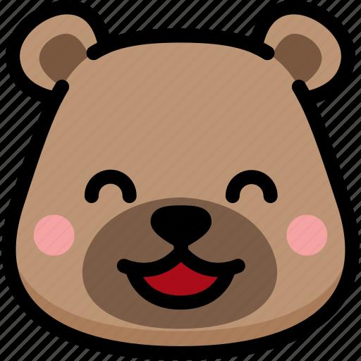 bear, emoji, emotion, expression, face, feeling, happy icon