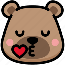 bear, emoji, emotion, expression, face, feeling, kiss icon
