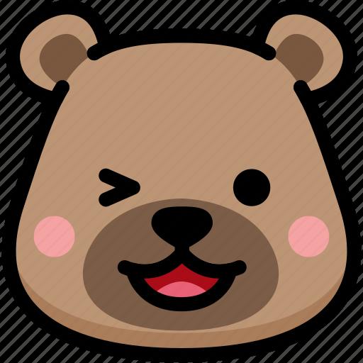 bear, emoji, emotion, expression, face, feeling, laughing icon