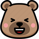 bear, emoji, emotion, expression, face, feeling, laughing icon