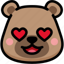 bear, emoji, emotion, expression, face, feeling, love icon
