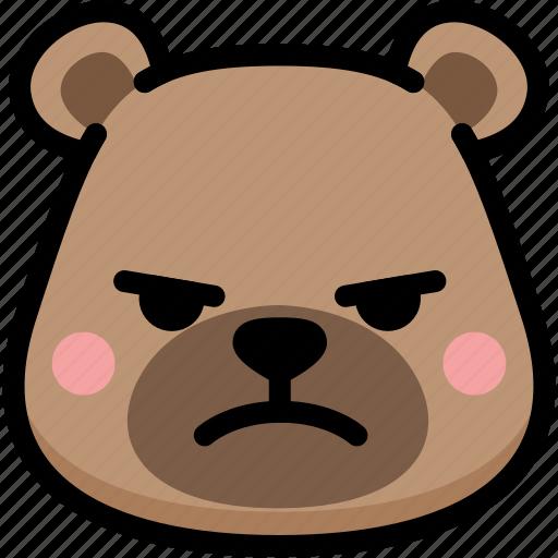 bear, emoji, emotion, expression, face, feeling, mad icon