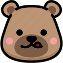 bear, emoji, emotion, expression, face, feeling, naughty icon