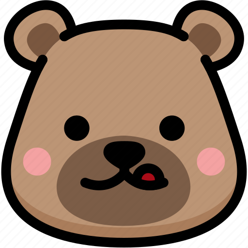 bear, emoji, emotion, expression, face, feeling, naughty icon