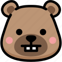 bear, emoji, emotion, expression, face, feeling, nerd icon