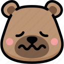 bear, emoji, emotion, expression, face, feeling, nervous icon