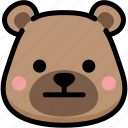 bear, emoji, emotion, expression, face, feeling, neutral icon