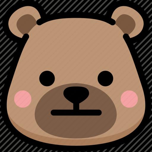 bear, emoji, emotion, expression, face, feeling, neutral icon