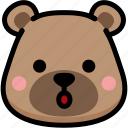 bear, emoji, emotion, expression, face, feeling, open mouth icon