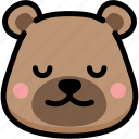 bear, emoji, emotion, expression, face, feeling, peace icon