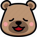 bear, emoji, emotion, expression, face, feeling, relax icon