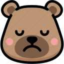 bear, emoji, emotion, expression, face, feeling, sad icon