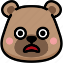 bear, emoji, emotion, expression, face, feeling, shocked icon