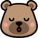 bear, emoji, emotion, expression, face, feeling, sleeping icon