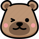 bear, emoji, emotion, expression, face, feeling, smile icon