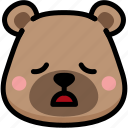bear, emoji, emotion, expression, face, feeling, tried icon
