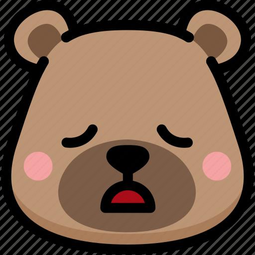 bear, emoji, emotion, expression, face, feeling, tried icon