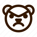angry, avatar, bear, emoji, face, profile, teddy icon