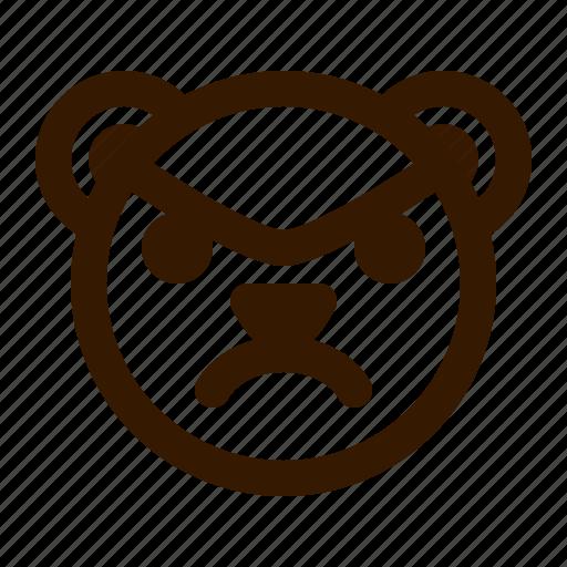 angry, avatar, bear, emoji, face, profile, teddy icon