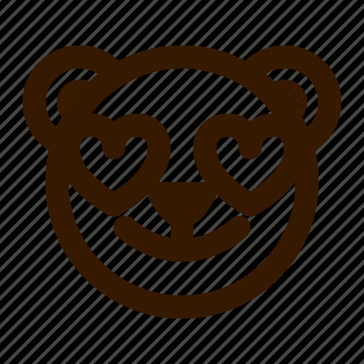 avatar, bear, emoji, face, love, profile, teddy icon