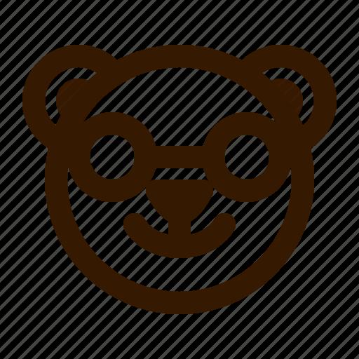 avatar, bear, emoji, face, nerd, profile, teddy icon