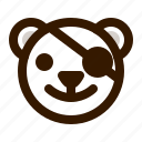 avatar, bear, emoji, face, pirate, profile, teddy icon