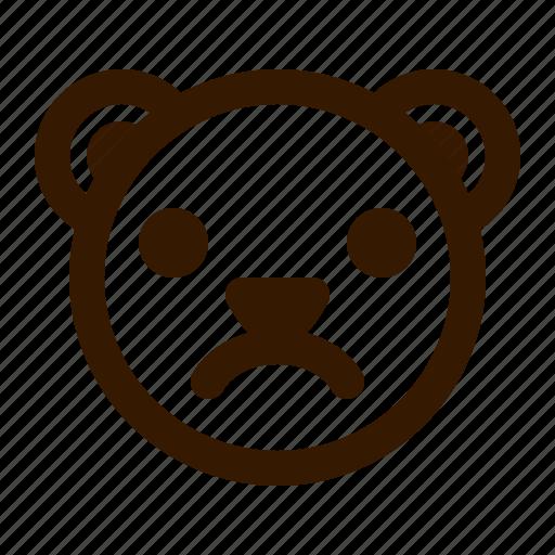 avatar, bear, emoji, face, profile, sad, teddy icon