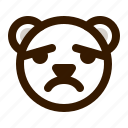 avatar, bear, emoji, face, profile, sad, teddy icon